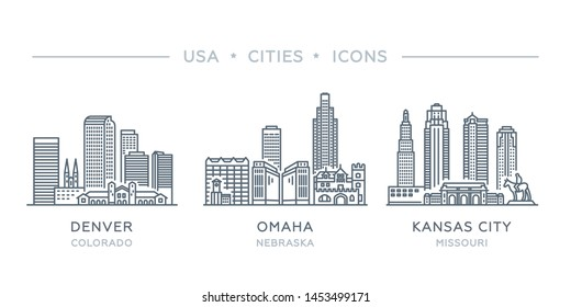 Set thin line icons of famous and largest cities of USA. State of Colorado, Nebraska, Missouri. Denver, Omaha, Kansas city. Vector illustration, flat design, white isolated. Trendy, modern style
