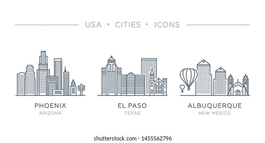 Set thin line icons of famous and largest cities of USA. State of New Mexico, Texas, Arizona. Albuquerque, El Paso, Phoenix city. Vector illustration, flat design, white isolated. Modern style
