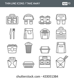 Set with thin line icons. Fast food. Take away. Package icons for delivery. Vector illustration. EPS 10
