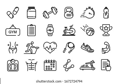 Set of Thin line icons Fitness and Sport. Collection Outline symbol fitness, gym and health care