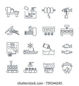 set of thin line icons food, meal production process, fish, meat