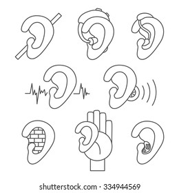 Set of thin line icons for hearing problems. Collection of simple vector icons in linear design for hearing loss, hard of hearing, deafness, hearing aids, hearing test etc.