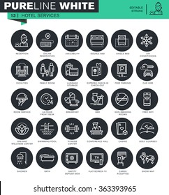 Set of thin line icons for hotel services. Icons for website and mobile website and apps with editable stroke.
