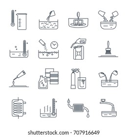 set of thin line icons household chemicals, tool, process