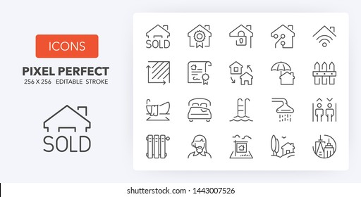 Set of thin line icons of houses and real estate services. Outline symbol collection. Editable vector stroke. 256x256 Pixel Perfect scalable to 128px, 64px...