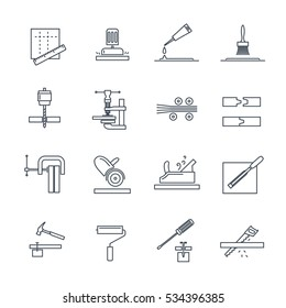 set of thin line icons manufacture of products of wood production process