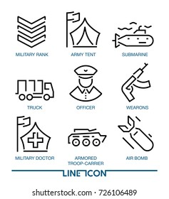 Set of thin line icons for military war and army EPS 8