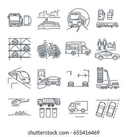 set of thin line icons municipal city transport, public utility