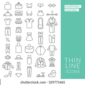 Set with thin line  icons on theme of shopping and clothes . Vector illustration. EPS 10
