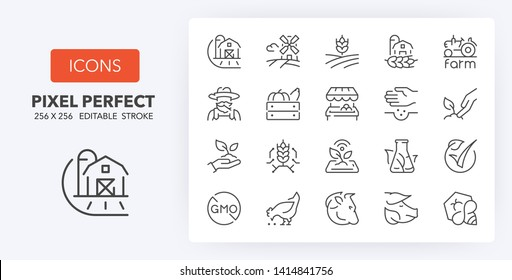 Set of thin line icons of organic food production and new agricultural technologies. Outline symbol collection. Editable vector stroke. 256x256 Pixel Perfect scalable to 128px, 64px...