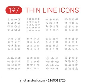 Set of thin line icons pictogram. Presentation, geometry, donation, support, religion, navigation, medical care,  transport, crown, sea animals, halloween themes. Vector illustration design