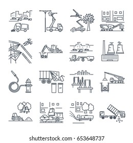 set of thin line icons public utility, construction, installation, operation, supply, maintenance