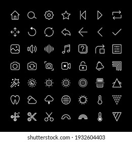 Set of thin line image editing vector illustration icons. Edit digital content video image camera picture interface icons in social media application. Filters frame rate auto correction, adjustments