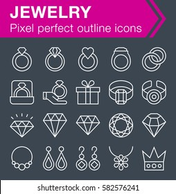 Set of thin line jewelry icons for mobile apps and web design.  Pixel perfect trendy thin line icons. Editable stroke.