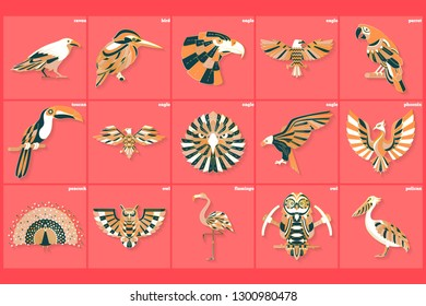 Set of thin line multicolored bird logos. Vector modern design icons, labels, badges, graphic element, emblem, logo, insignia, sign, identity, logotype, poster, sticker, patches.