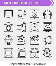 Set of thin line multimedia icons.