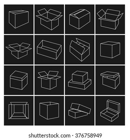 Set of thin line outline packing box icons, vector illustration.