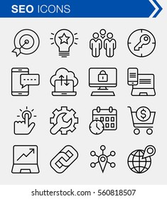 Set of thin line search engine optimization icons. Pixel perfect icons for mobile apps and web design.