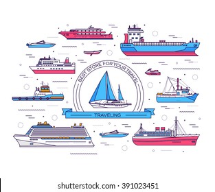 Set of thin line ship flat yacht, scooter, cargo, steamship, ferry, fishing boat, tug, bulk carrier, vessel, pleasure, cruise  with sea background concept. Vector outline illustration