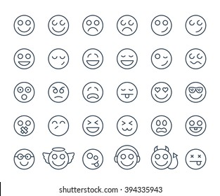 Set of thin line smile emoticons or smileys on a white background. Icon collection