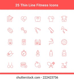 Set of Thin Line Stroke Fitness Icons Vector Illustration