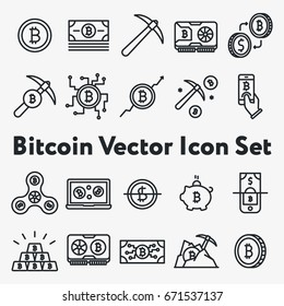 Set of Thin Line Stroke Vector Bitcoin and Cryptocurrency Icons. Mining, coin, pickaxe, gold, money, spinner, video card, phone, laptop, exchange.