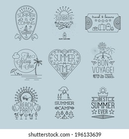 Set of Thin line Summer Travel and Holiday Outlined Label and Emblem Illustrations