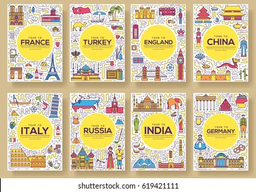 Set of thin line travel world country concept. Art traditional, magazine, book, poster, abstract, banners, element. Vector outline package greeting card or invitation design background