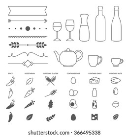 Set of thin line vector elements and allergy icons for restaurant menu design