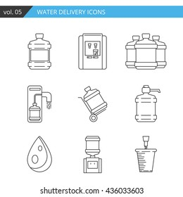 Set thin line water delivery icon. Water bottle icon isolated on white background. Water bottle icon for web, mobile, app. Stylish water bottle delivery icons for your needs. Premium quality icon.