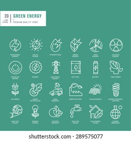 Set of thin line web icons for green energy