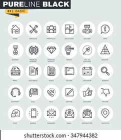 Set of thin line web icons for communication, information, service and office. Premium quality icons for website, mobile website and app design.