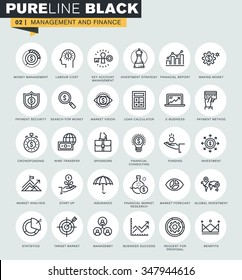 Set of thin line web icons of management and finance. Premium quality icons for website, mobile website and app design.
