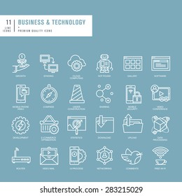 Set of thin lines web icons for business and technology