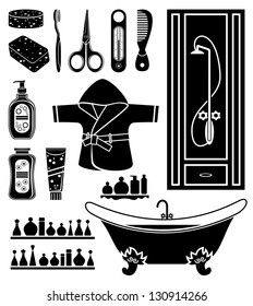 Set of things for bathing. vector