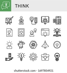 Set of think icons. Such as Chatting, Creative, Idea, Light bulb, Knowledge, Brainstorming, Thinking, Brain, Lamp , think icons