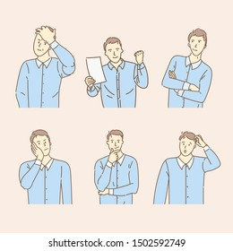 Set Thinking men with curious bemused faces. Doubt office workers. Brainstorm process. Hand drawn vector illustration. Doodle style design.