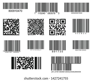 Set of thirteen barcodes. Realistic bar code icon. A modern simple flat barcode. Marketing, the concept of the Internet