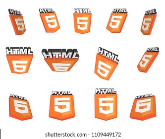 Set of thirteen vector HTML5 icons (logos) with 3D effect