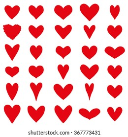 Set of thirty red heart silhouettes on a white background for Valentine's Day. Vector illustration