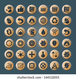 set of thirty six round icons for modern mattresses and pillows