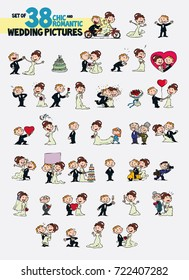 Set of thirty-eight chic and romantic characters bride and groom. Newlyweds dancing, in romantic attitude, hugging... Elements for wedding invitations. Vector illustration in cartoon style.