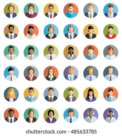 Set of thirty-six flat round icons of young business people.