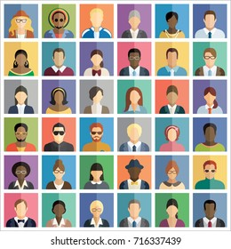 Set of thirty-six flat square icons of people.