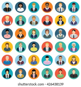 Set of thirty-six round icons of business people.