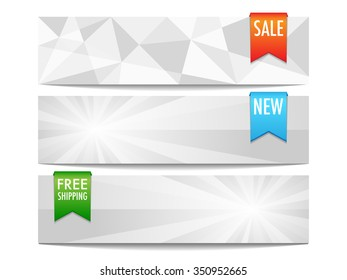 Set of three abstract banners in modern light style with ribbons.