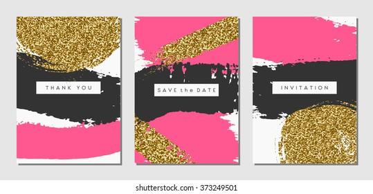A Set Of Three Abstract Brush Stroke Designs In Black Pink And Gold Glitter Texture