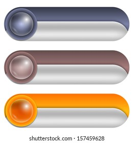 set of three abstract buttons