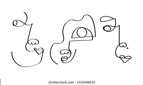 Set of three abstract face one line drawing. Portrait minimalistic style. Fine one line drawing abstract face. One line drawing abstract faces. Modern continuous line art