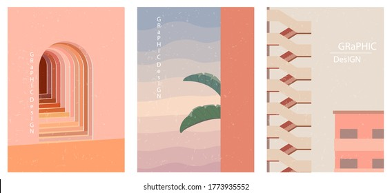 Set of three abstract graphic aesthetic backgrounds with stairs, arc, leaves in Boho style. Trendy vector illustration in terracotta colors for wall decoration, postcard or brochure, social media.